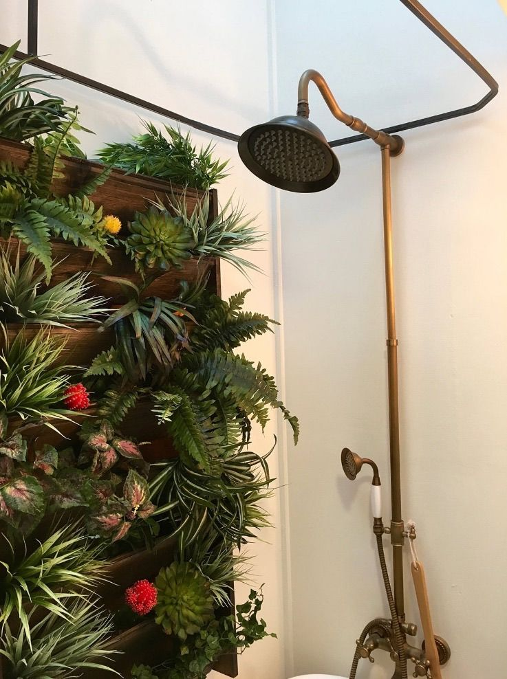 Love The Idea Of A Living Wall In The Shower To Help Absorb Moisture.