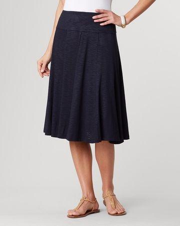 Knit flare skirt - [K24344]