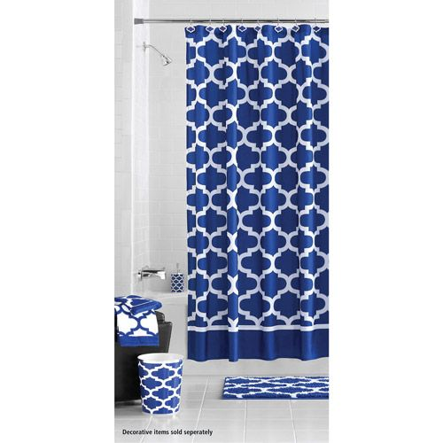 Mainstays Navy Fretwork Fabric Shower Curtain 1 Each Walmart Com Navy Blue Shower Curtain Blue Shower Curtains Blue Bathroom Decor