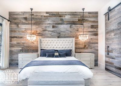 Pbw Tobacco Barn Grey Wood Wall Master Bedroom Rustic Master Bedroom