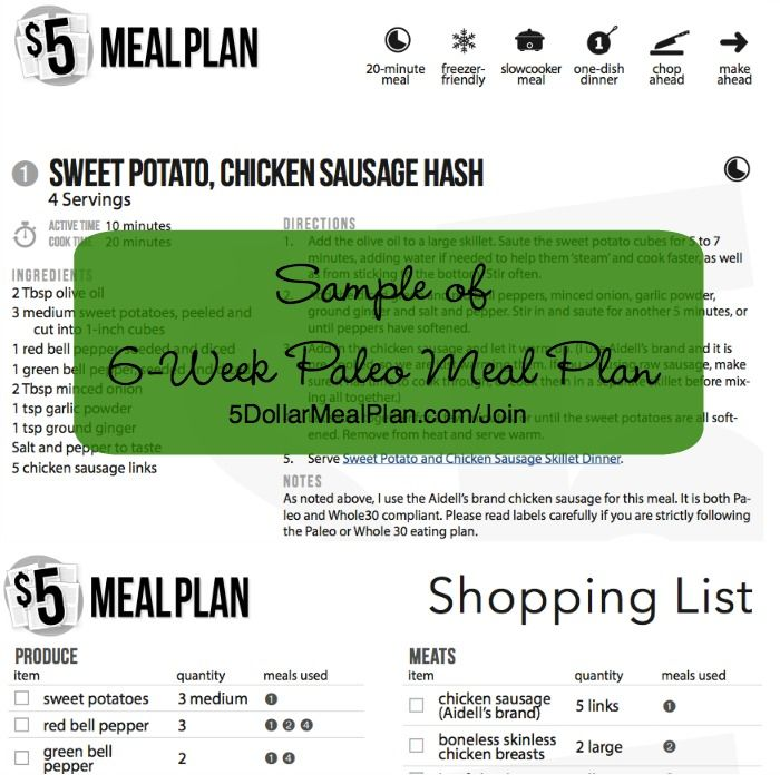 Sample Meal Plan Paleo From $5 Meal Plan | 5Dollarmealplan.Com