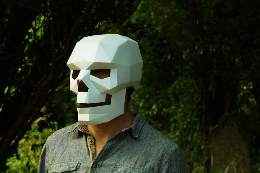 diy geometric paper masks can print out at home