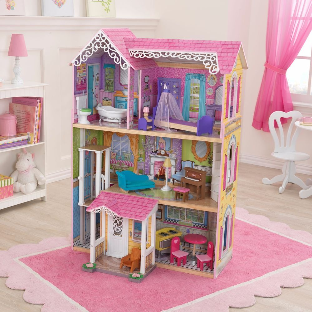Barbie Size Dollhouse Girls Wooden Pretend Play Playhouse Doll House