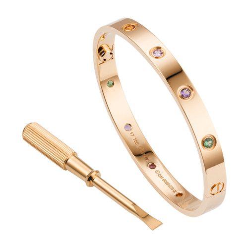 30738348b006 Cartier love pulsera réplica de oro rosa Sapphire piedra de granada ...