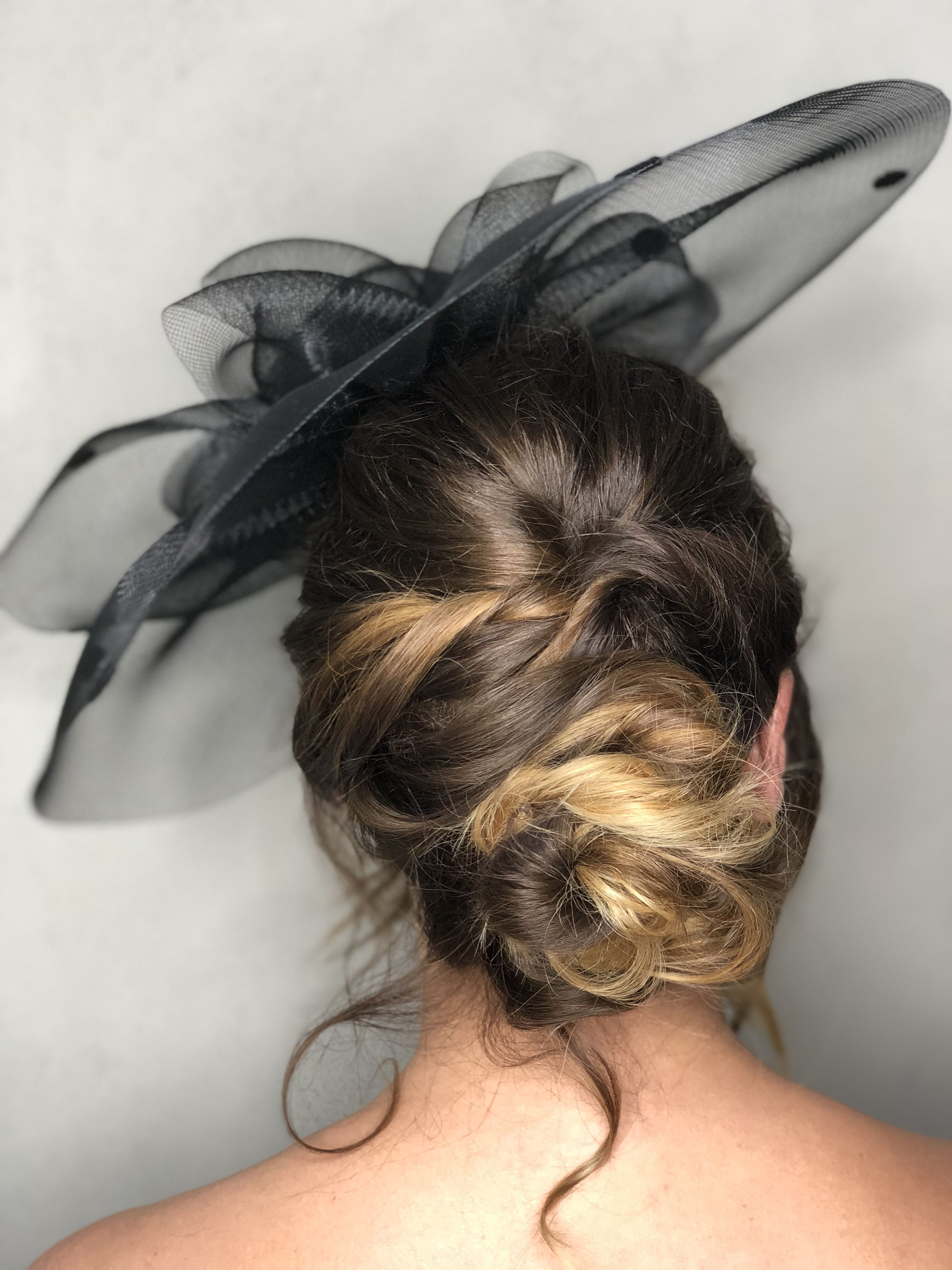 Boho hair up. Low side bun. Textured up do. Hair by me. Wedding guest. Races. #lowsidebuns