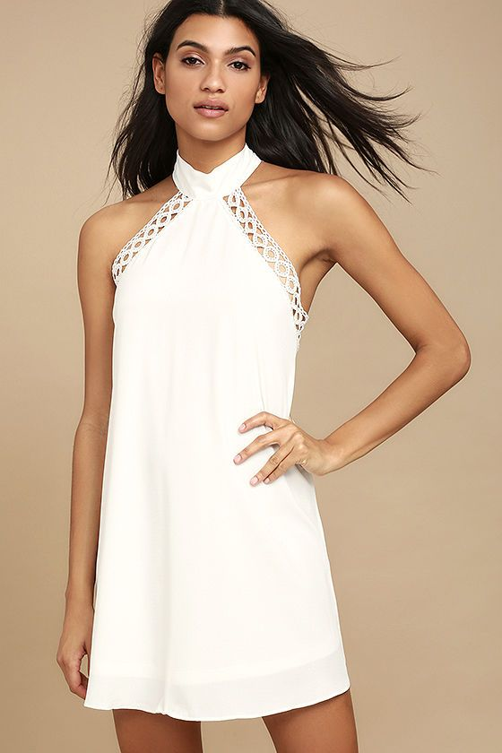 Any Sway Shape Or Form White Lace Halter Dress White Dresses For Women Long White Dress White Short Dress