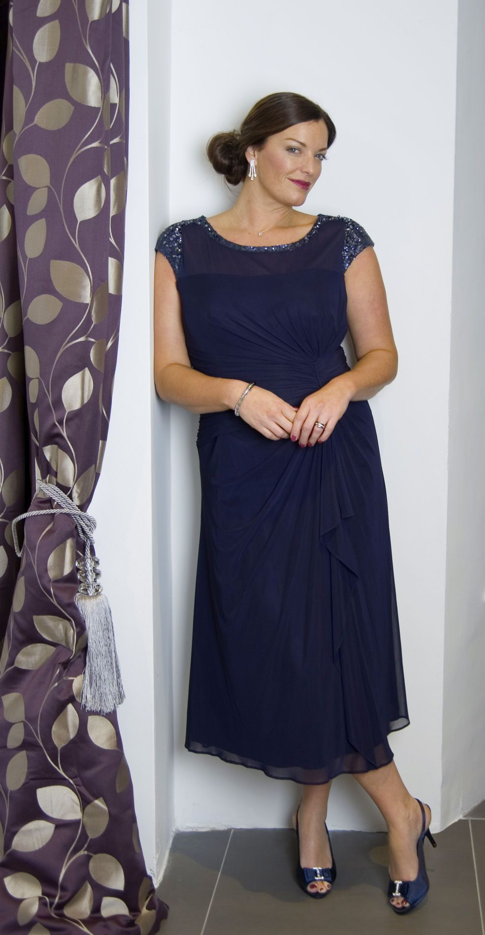 Navy sequin trim mesh dress from chesca mother of the bride
