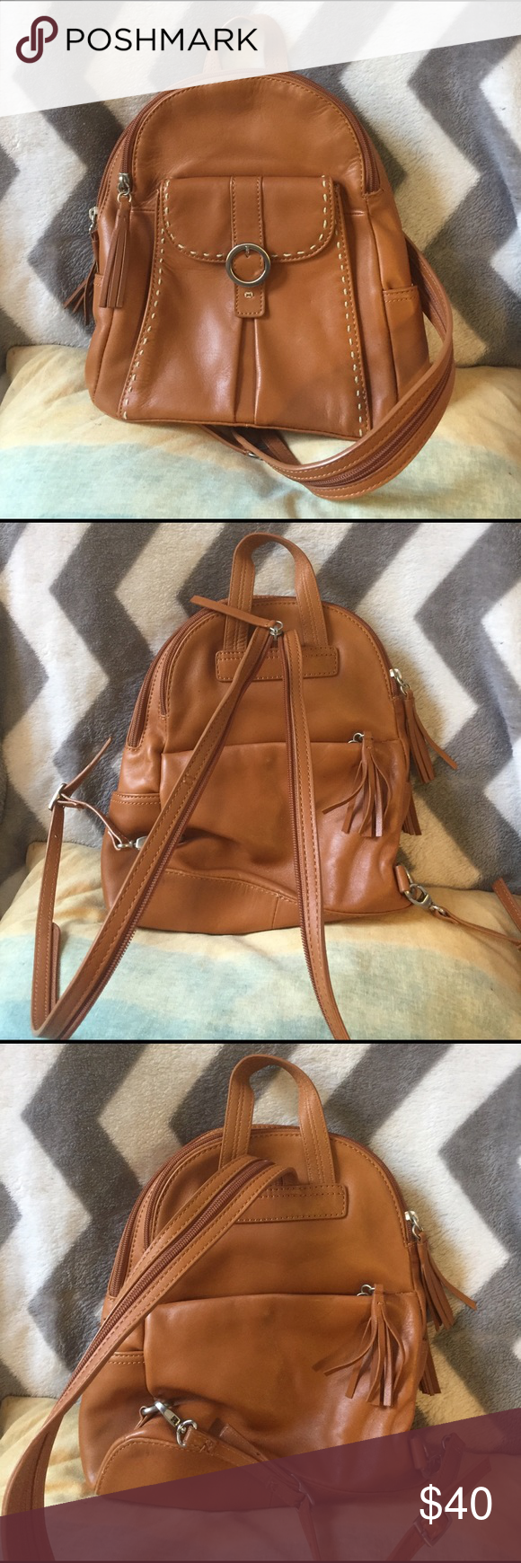 Sigrid Olsen convertible backpack 100% leather. Super cute bag that has a  strap that unzips to become a backpack. 5 separate pockets with a bright  aqua blue ... 3a1d252843