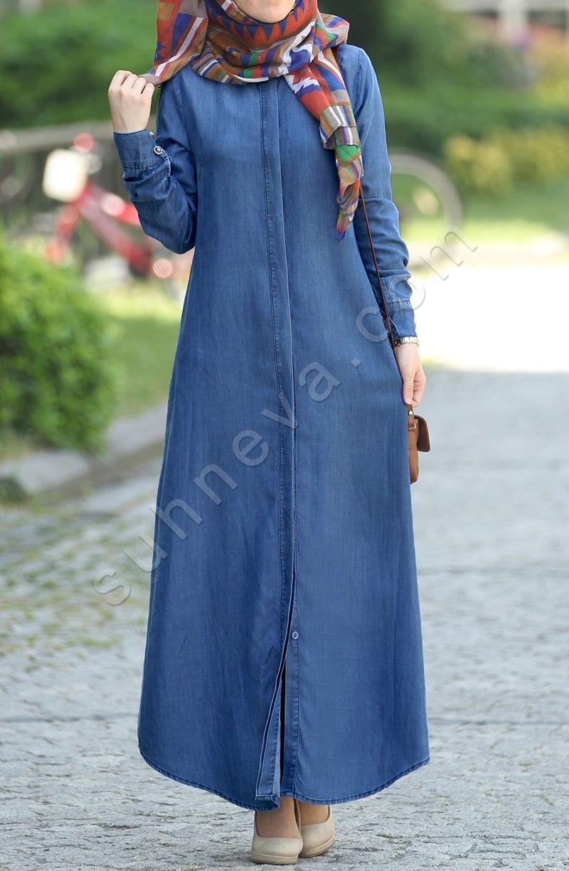 Gizli Dugmeli Duz Kot Pardesu Mavi Tesettur Elbise Kot Elbise Suhneva Kot Elbiseler Islami Giyim Giyim