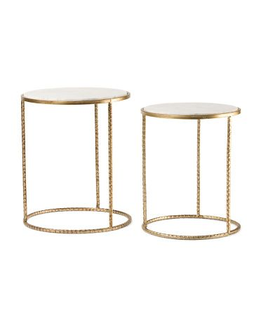 Set Of 2 Marble Accent Tables   Accent Furniture   T.J.Maxx