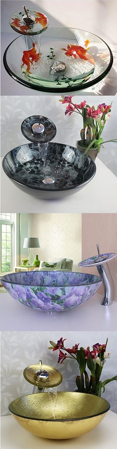 Stylish glass vessel sinks for your bathroom. Which one would you buy?