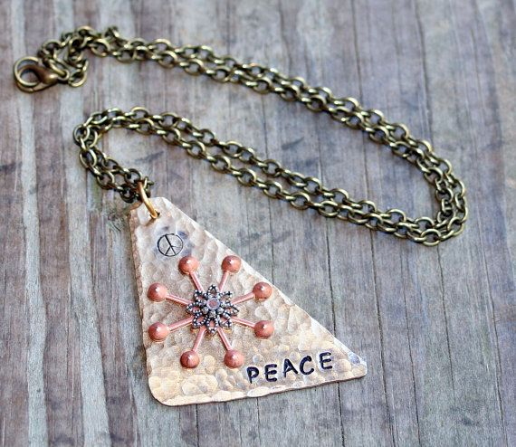 Necklaces Handmade Red Brass hand cut Peace by debsdesigns401