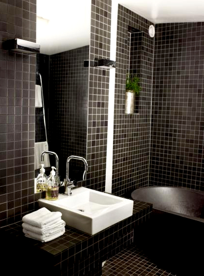 Black for the Bathroom Bathroom tile designs, Black tile