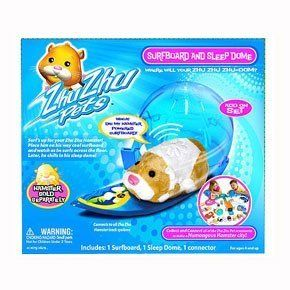 Zhu Zhu Pets Hamster Deluxe Accessory Kit Surfboard and Sleep Dome by Cepia. $9.99. From the Manufacturer                Whoa!  Dig my Hamster Powered Surfboard!?  Surf's up for your Zhu Zhu Hamster!  Place him on his SUPER cool surfboard and watch as he surfs across the floor.  Later, he chills in his sleep dome!  Each Zhu Zhu Hamster has its own unique personality & whimsical sounds!  Loving Mode:  Pet them, love them, hear them chatter.  Explore Mode:  Let them scoot, scamp...