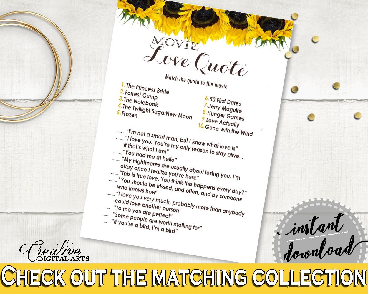 Wedding decorations quotes  Movie Love Quotes Bridal Shower Movie Love Quotes Sunflower Bridal