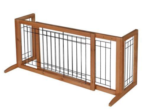 New Solid Wood Pet Fence Adjustable Dog Gate Free Standing Indoor Safe Playpen