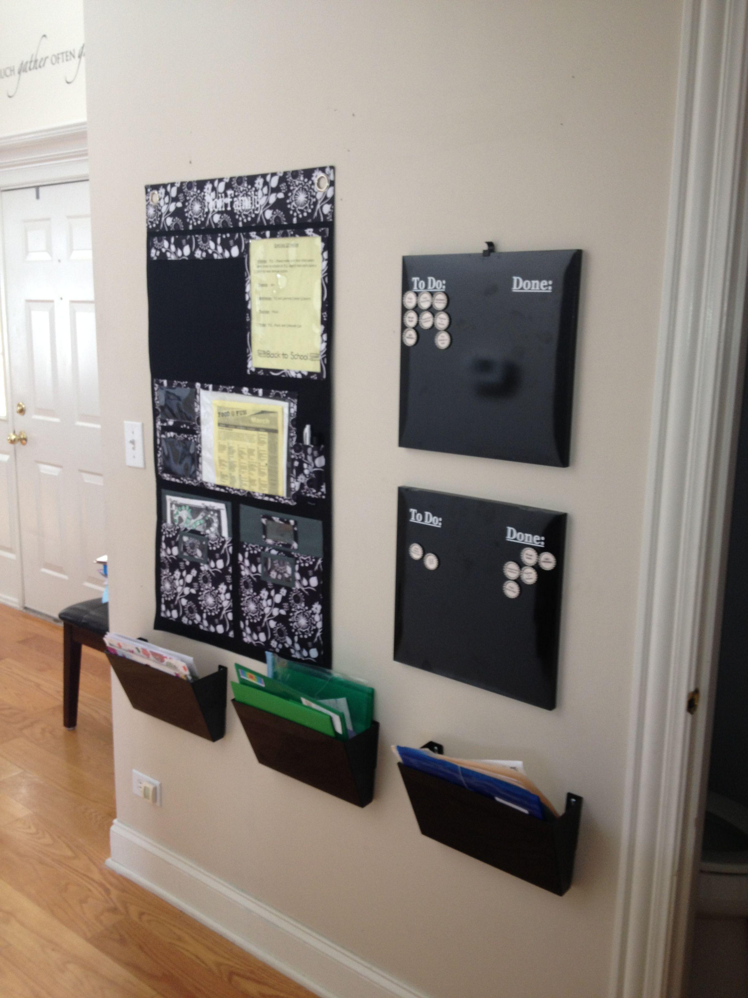 trying to organize the kids u0026 39  homework  mailboxes  calendar
