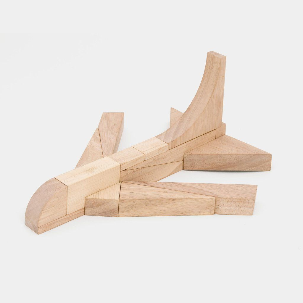 PlayShapes by Miller Goodman is a unique set of 74 geometric rubberwood blocks that can be used to create an infinite number of different designs.
