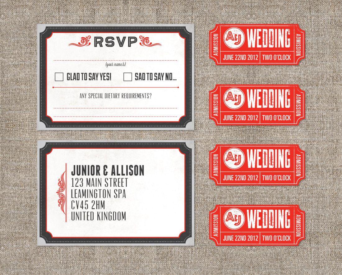 Vintage typography theatre movie invitation with ticket - DIY ...