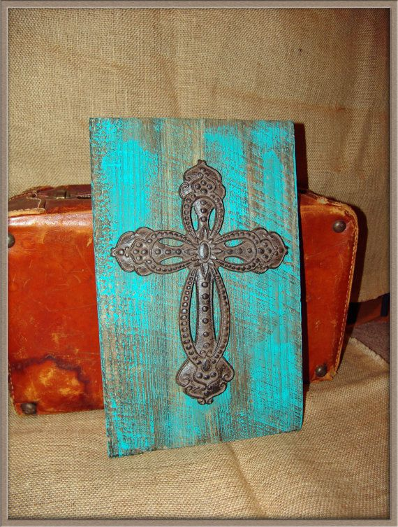 Teal Turquoise Cross Board Hanging Wall Decor Vintage Country Western Faith