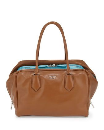 248dacad72c8 Large Soft Calf Inside Bag, Tan/Turquoise (Cannella+Turchese) by Prada at  Neiman Marcus.
