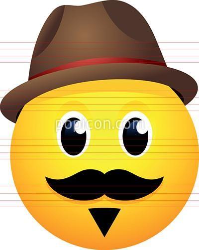 Hipster Face With Fedora Hat Emoji Emoji Hat Emoji Happy Face Symbol