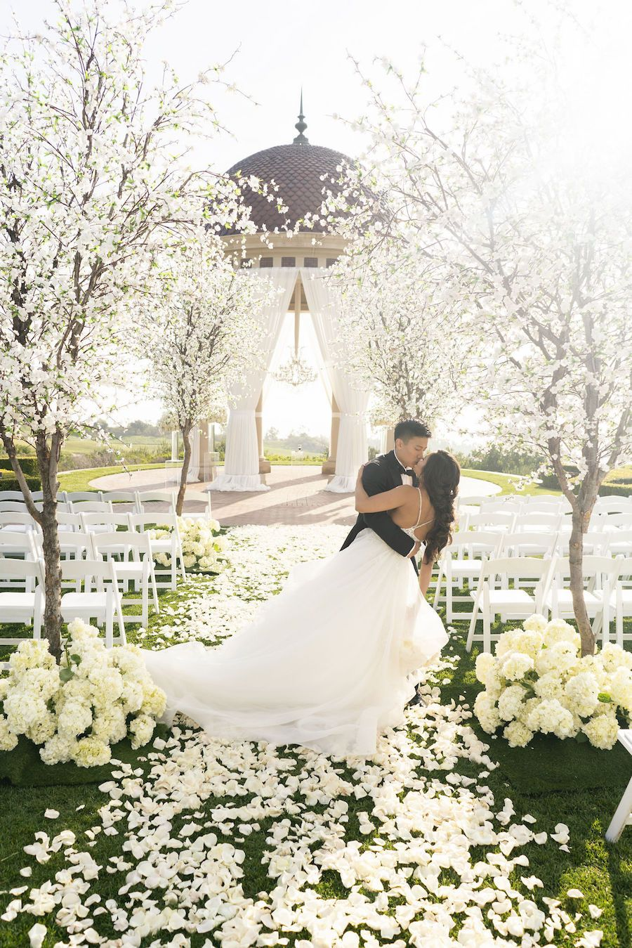 Romantic White Wedding At Pelican Hill With Dreamy Cherry Blossom Trees Modwedding West Virginia Wedding Wedding Tree Wedding