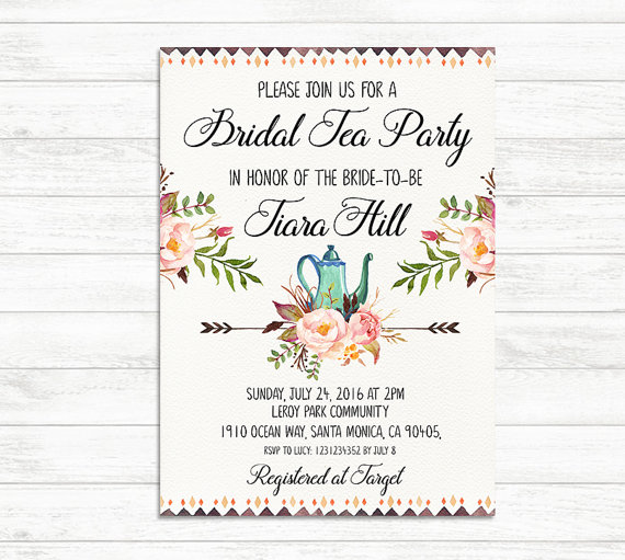 BRIDAL TEA PARTY Invitation Printable Bridal Tea Invite Floral