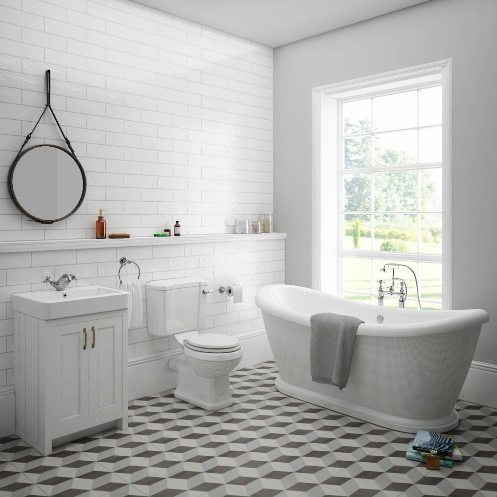 Chatsworth White Close Coupled Roll Top Bathroom Suite In 2019