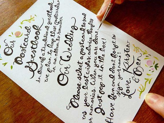 Kirsten and Ben's hand written wedding guestbook poster for their guests!