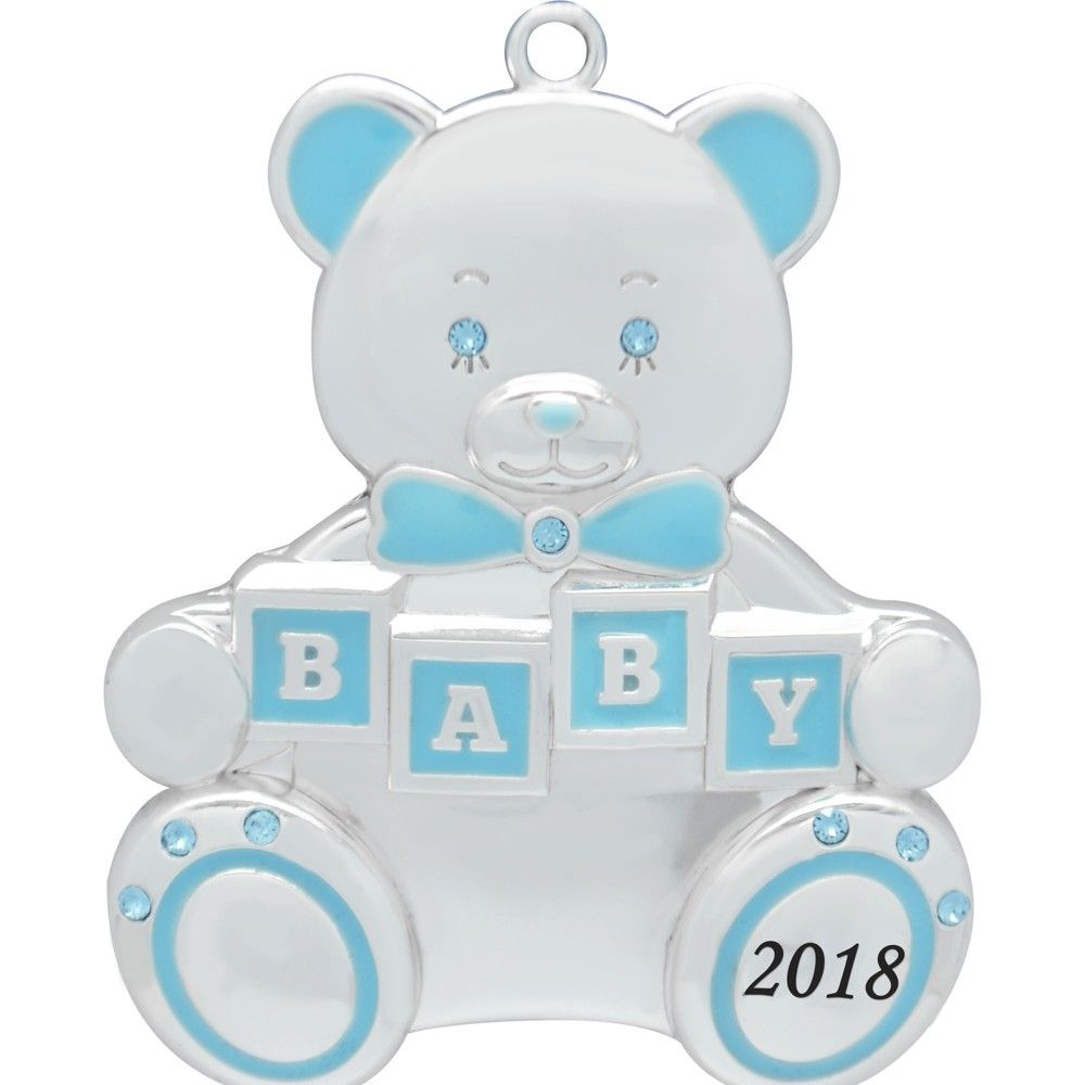 f7a4f2c01 Harvey Lewis Blue 2018 Teddy Bear Baby Christmas Ornament with Crystals  from Swarovski, Silver