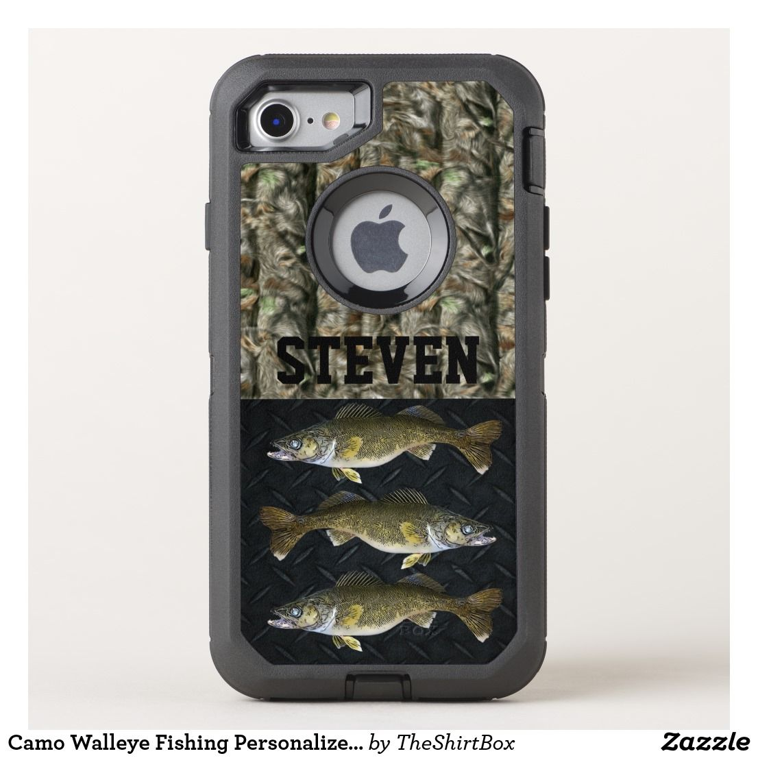 Camo walleye fishing personalized name mens otterbox