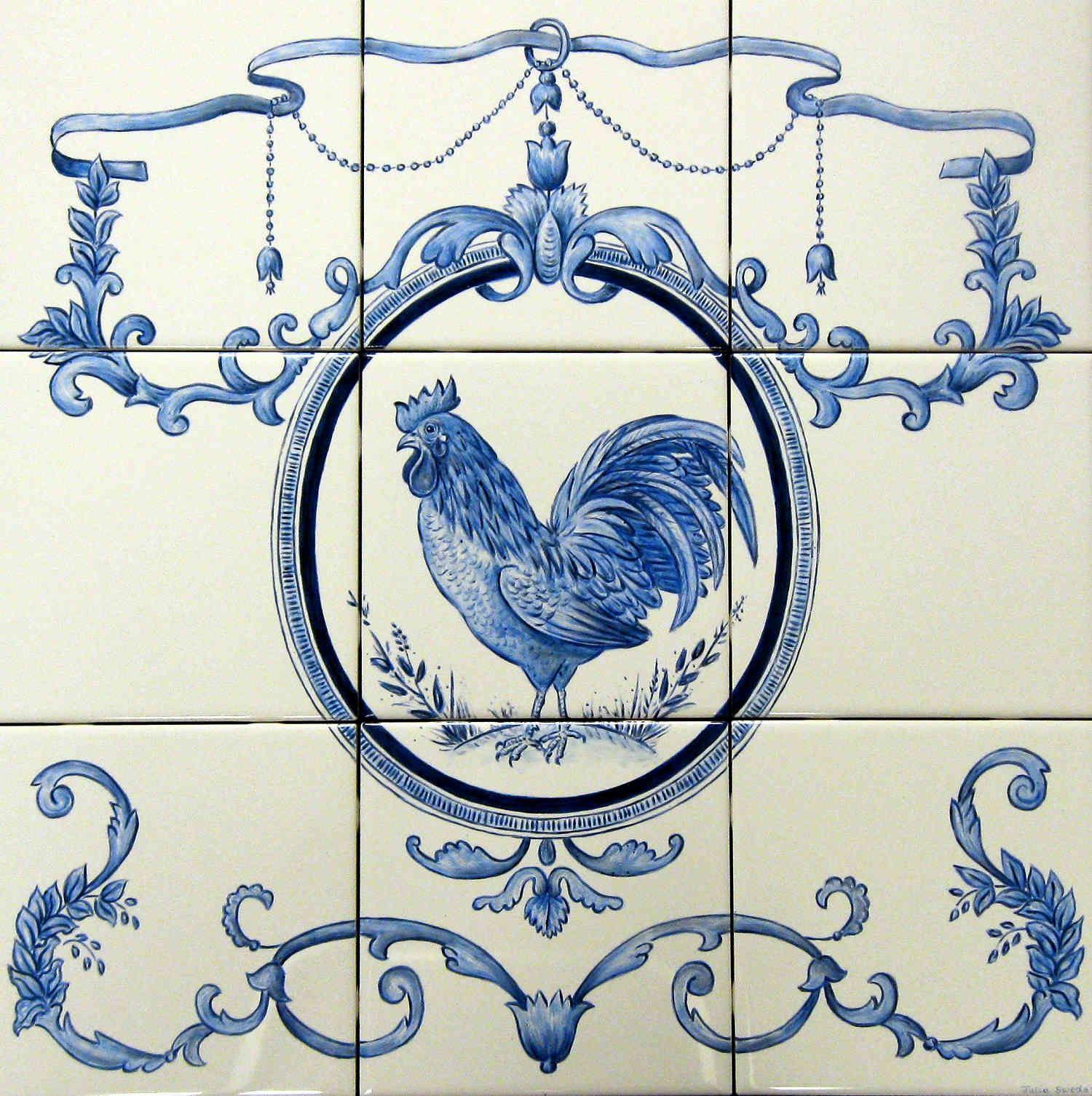 Ornamental Rooster tile mural backsplash. Ornate portrait hand ...