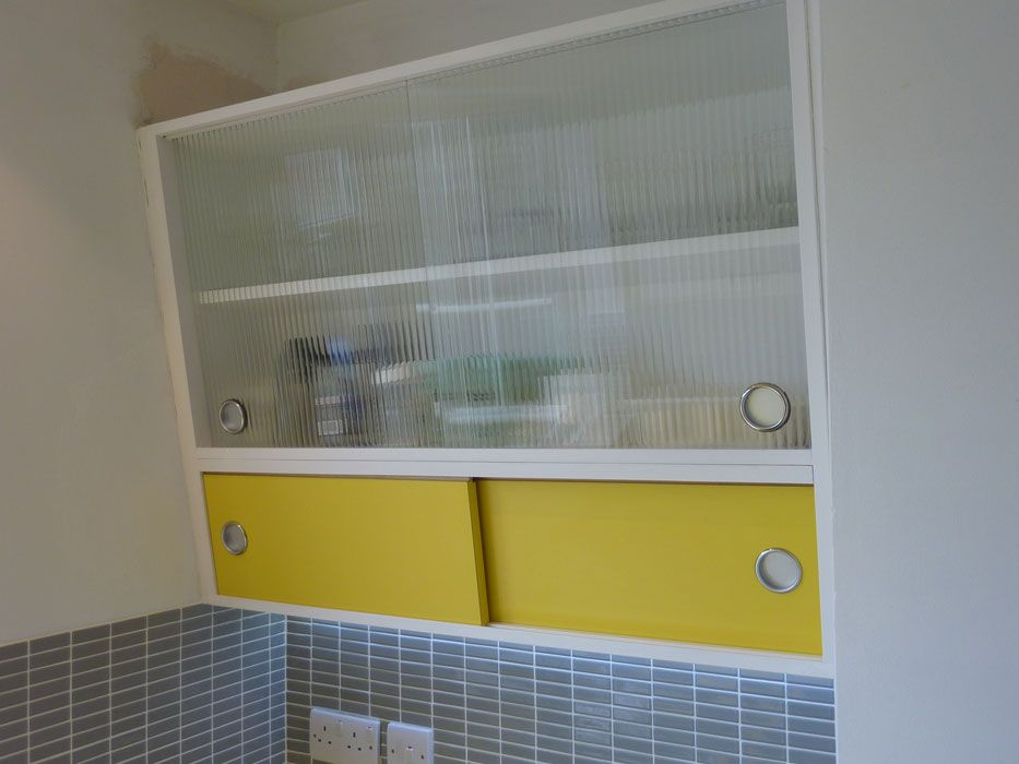 1950 39 s style angled wall cabinet with formica and reeded for Glass kitchen wall units