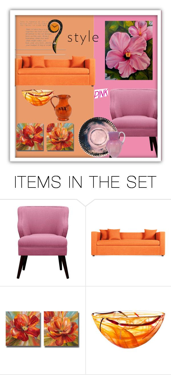 """""""Orange and Pink"""" by suelb ❤ liked on Polyvore featuring art"""