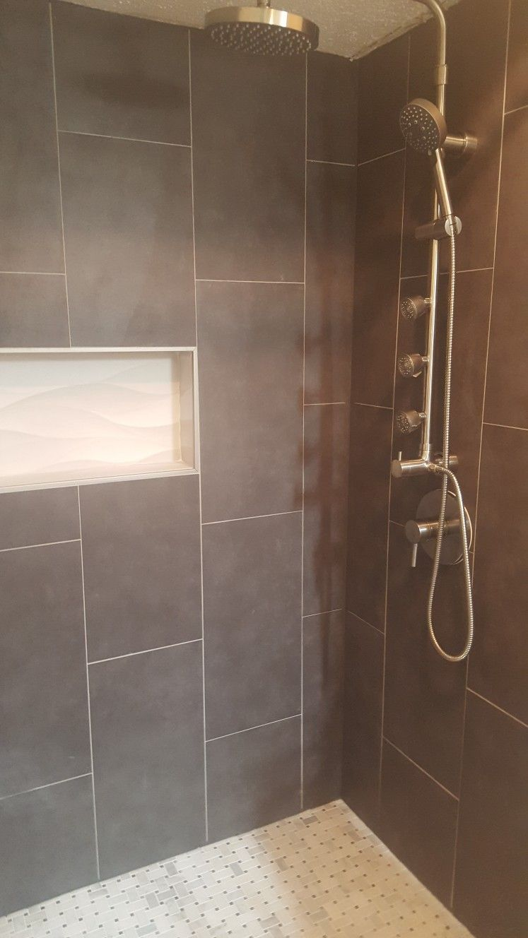 New Shower Remodel Gray Tile With Wave Tile Insert And