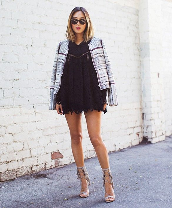 Tailored jacket, eyelet dress, and sandals