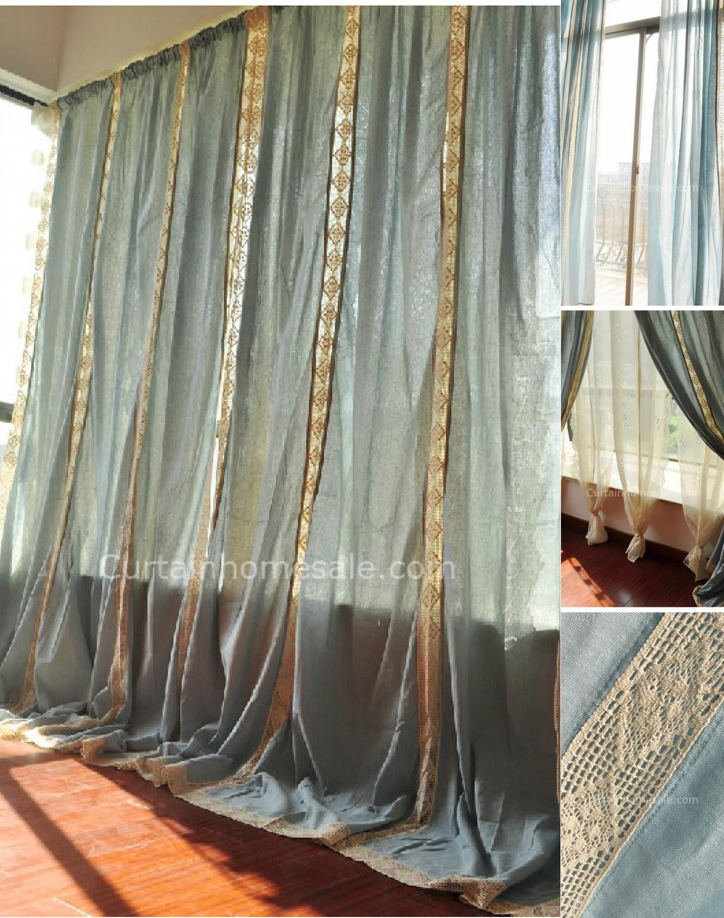 Eco-friendly Big Window Cotton Burlap Curtains of Mediterranean Style