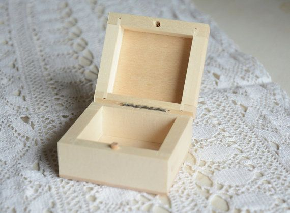Small wooden box natural unfinished wood box plain hinged wooden