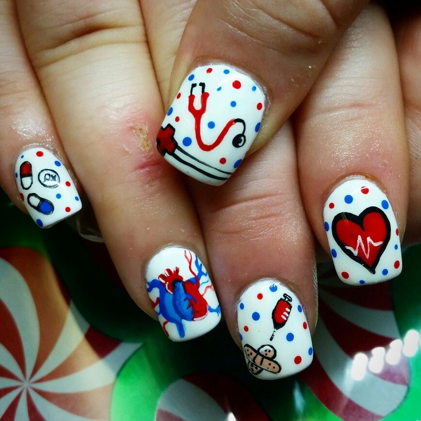 Manicure Nail Art: Nurse Nails, Hand Painted By Kryssy Kaltenthaler