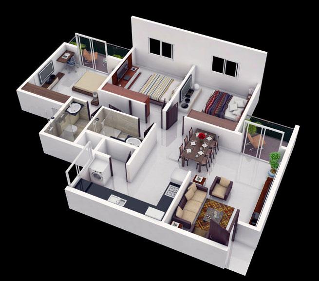 Three Bedroom Home Design Delectable Creative3Bedroom1 655×576 Pixeles  Ideas Y Proyectos Para Design Decoration