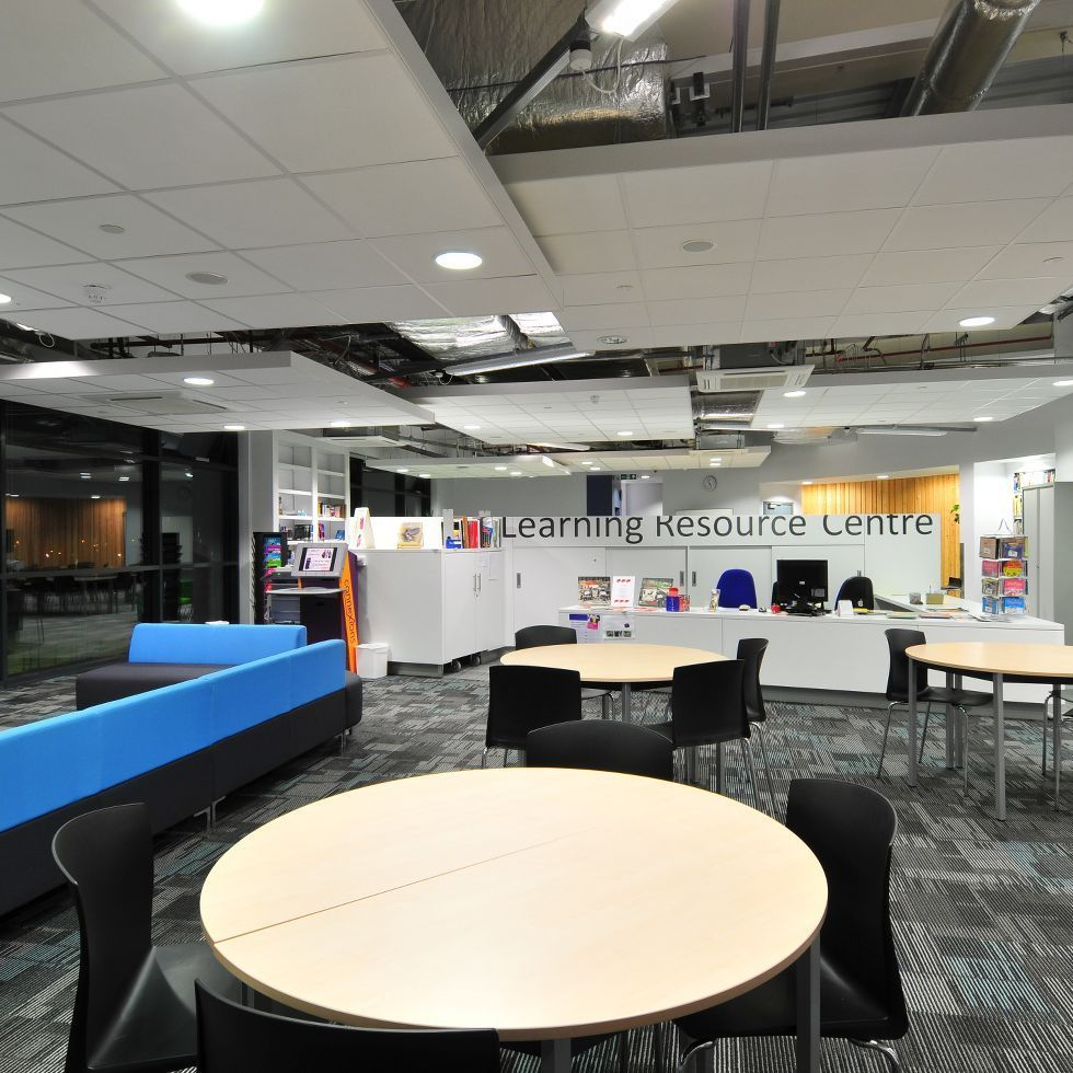 The Learning Resource Centre At Harton Technology College By Ryder1953 Had The Design Vision Of Vibrant Sp In 2020 Armstrong Ceiling Floating Ceiling School Reception