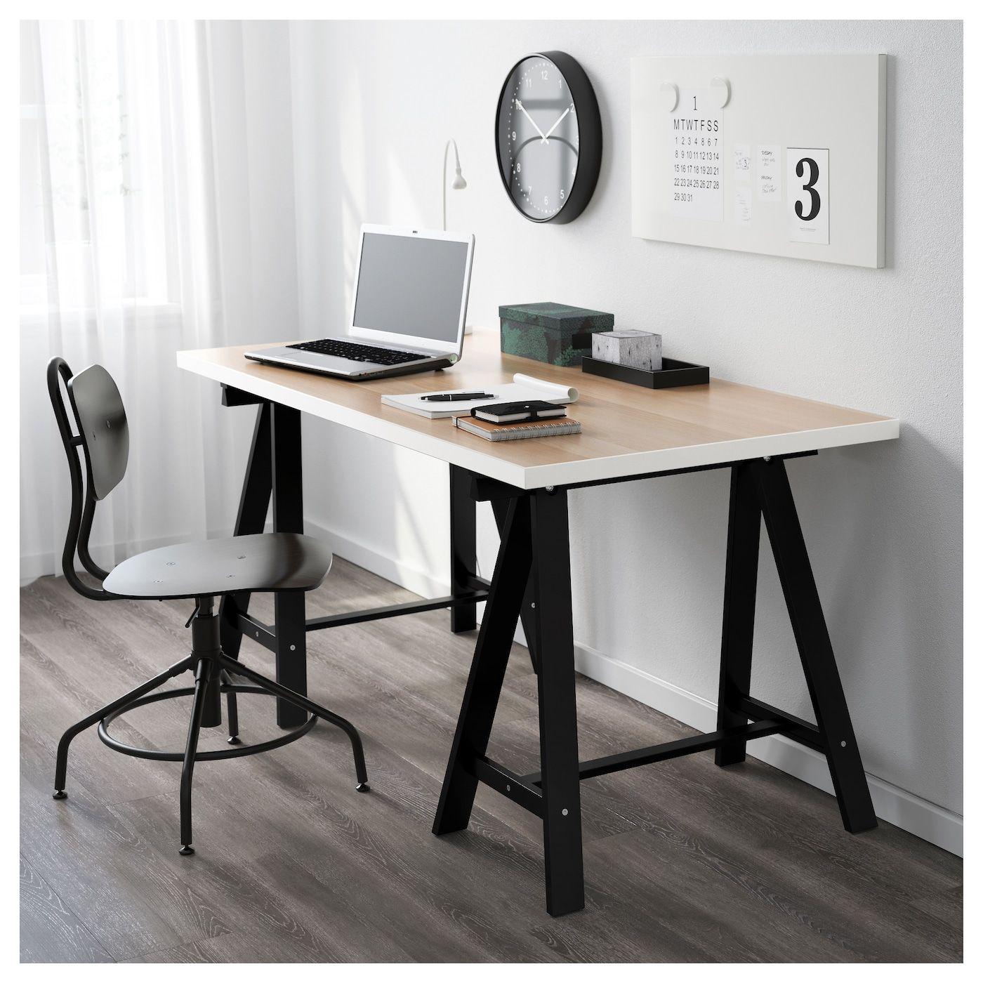 LINNMON / ODDVALD Table, white white stained oak effect, black
