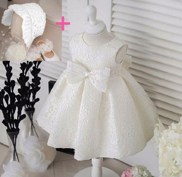 114e11c3d4aee Newborn Baby Girls 0-3 Months Christening Dress with Hat ...