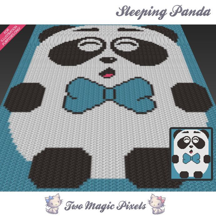 Sleeping Panda c2c graph crochet pattern; instant PDF download; baby ...
