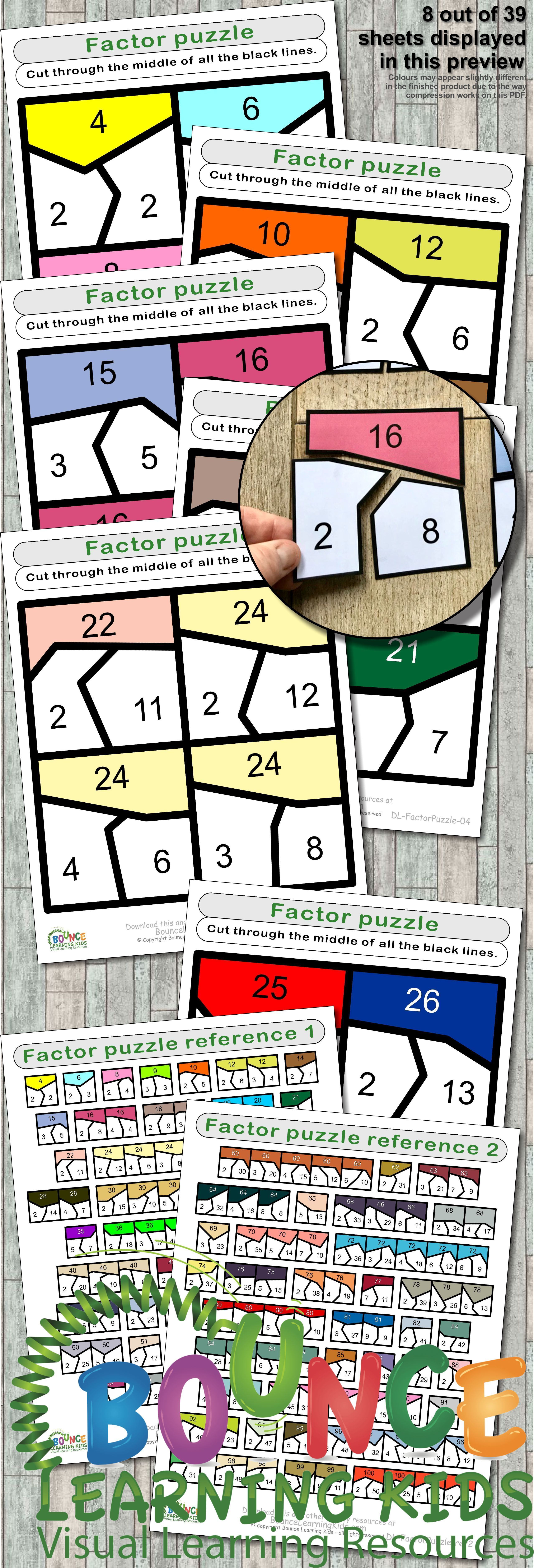 Factor Puzzle 39 Numeracy Sheets