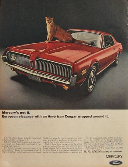 Vintage Ford Mercury Cougar Ad 1968 Mine Was Lime Green 350 Engine
