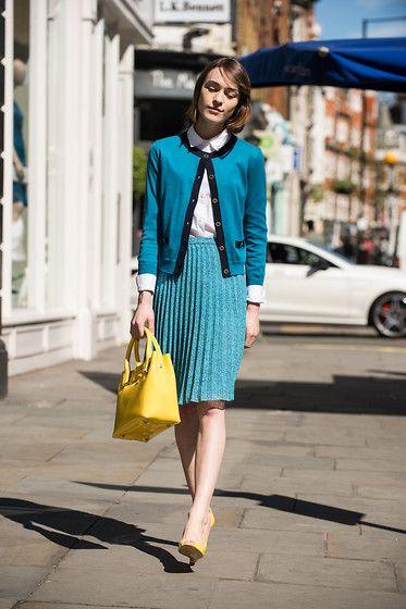 Lk Bennett Cardigan, Lk Bennett White Shirt, Lk Bennett Pleated Skirt, Lk Bennett Yellow Patent Bag, Lk Bennett Yellow Wedges