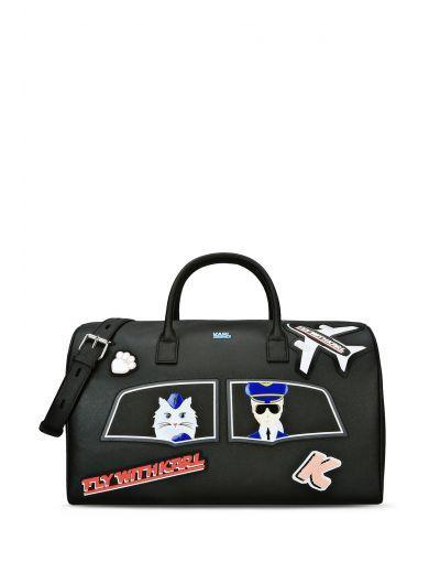 Karl Lagerfeld Black Travel Bag Karllagerfeld Bags Shoulder Leather Canvas Pvc