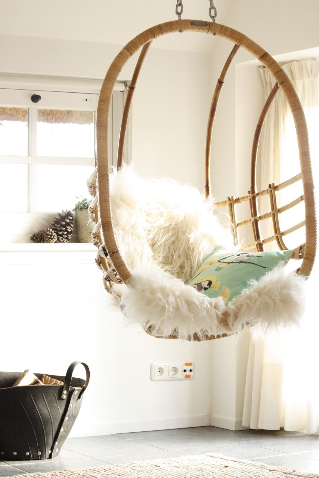 Egg chair with sumptuous sheepskin look out for our dlux